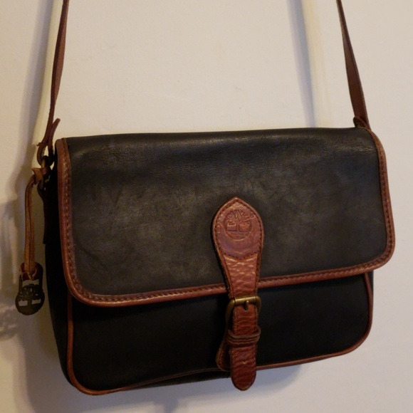 Vintage Timberland Black Brown Leather Handbag Bag